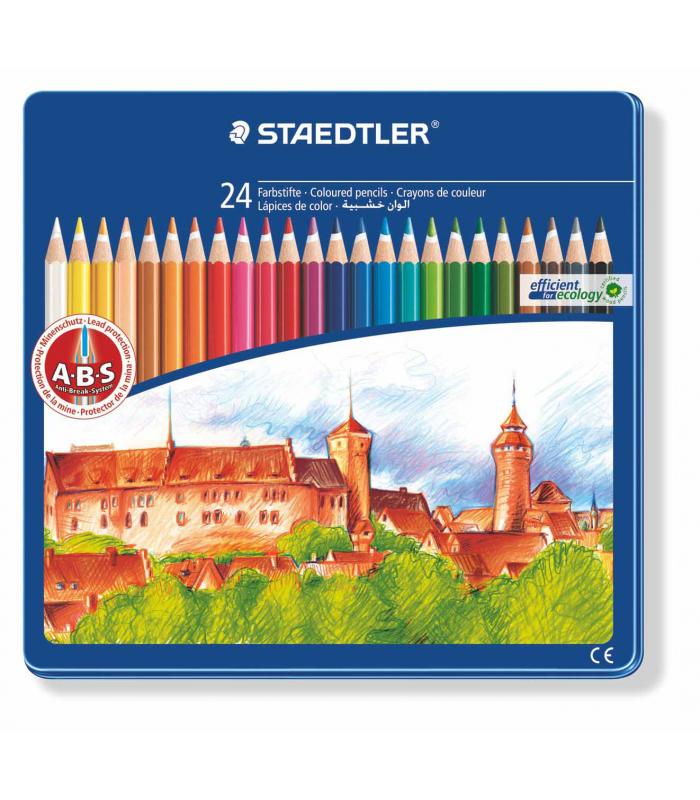 Lápices de 24 colores Staedtler en estuche de metal 145 CM24
