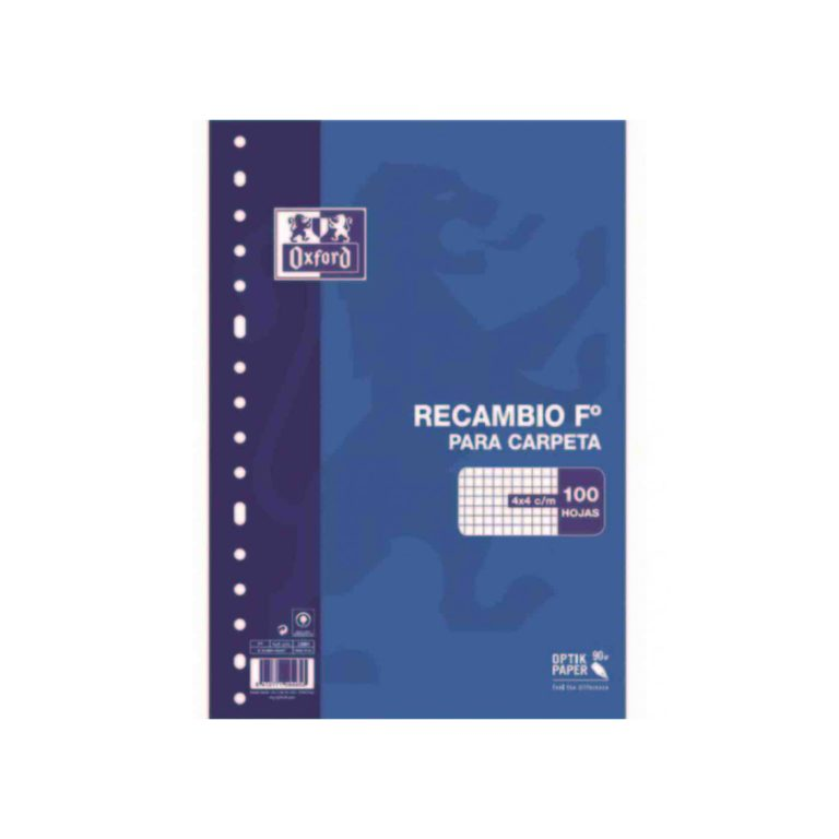 Recambio FOLIO 100 hojas cuadro 4mm OXFORD
