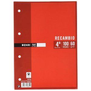 ENRI - RECAMBIOS - 1/4 - 100 Hojas - 4x4 c/m