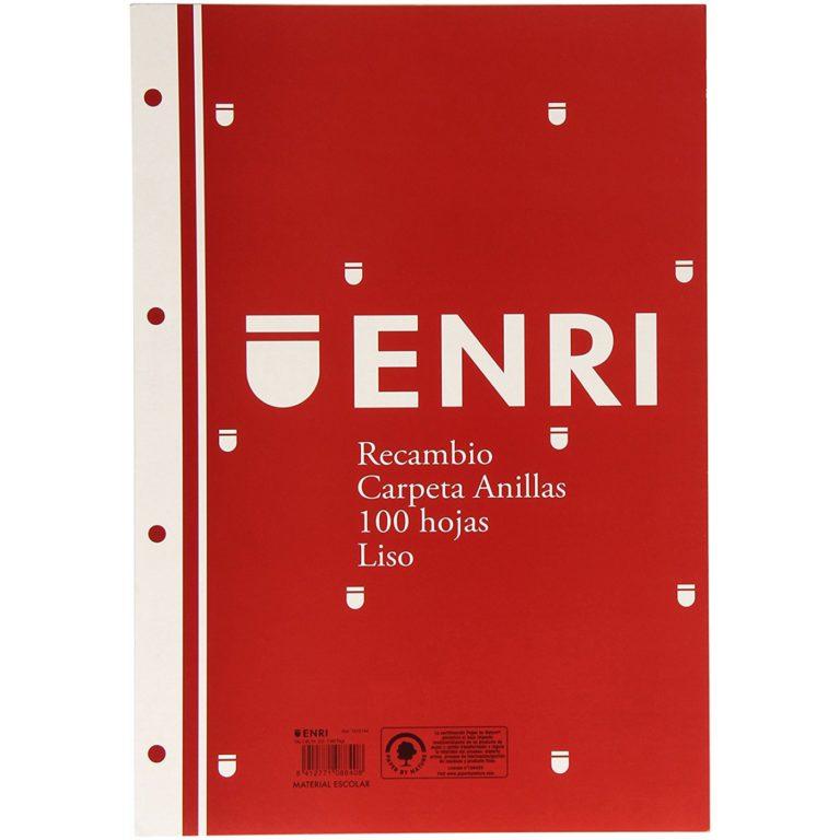 Recambio tamaño folio 100 hojas liso 4mm ENRI