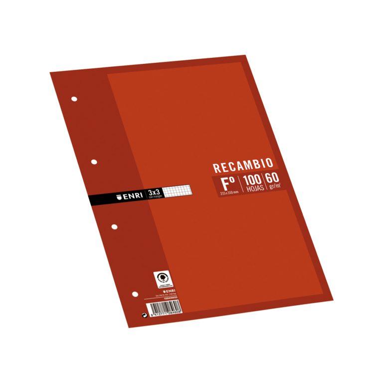 Recambio tamaño folio 100 hojas 3X3 ENRI