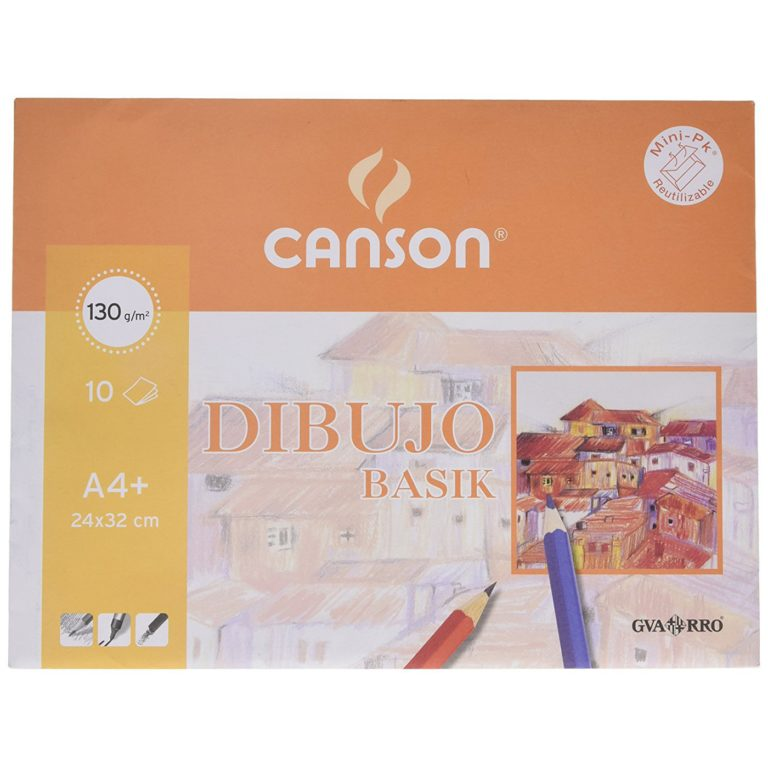 Mini-pk de 10 láminas de dibujo LISO Basik A4+