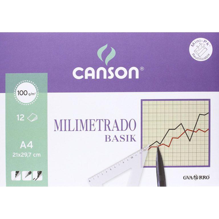 Mini-pk de 12 láminas A4 de papel Milimetrado Basik Canson