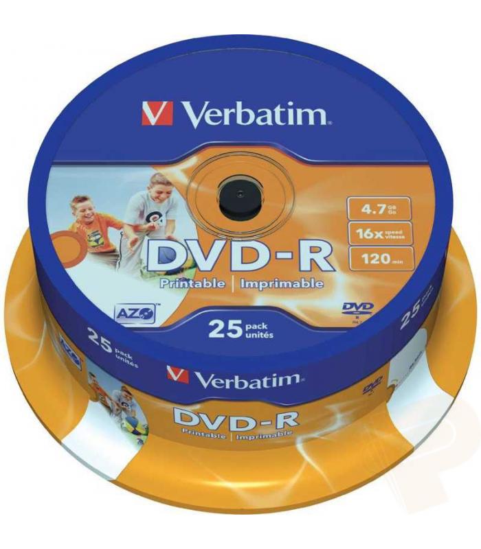 DVD-R 4.7gb imprimible bobina de 25 uds VERBATIM