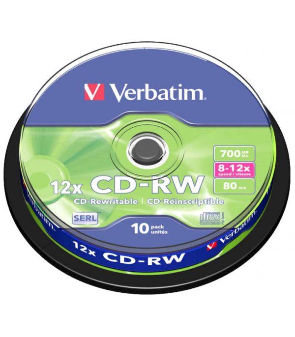 Bobina de 10 CD-RW 700mb VERBATIM