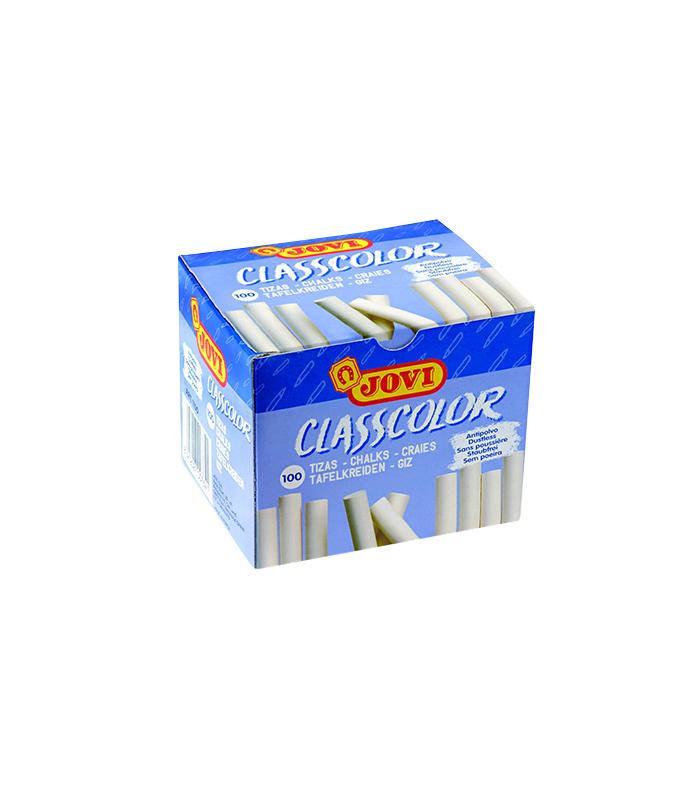 Tizas blancas CLASSCOLOR antipolvo caja 100 unidades JOVI