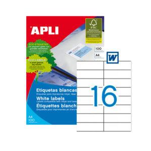 APLI - Caja Etiquetas - 100 Hojas - 105,0X 37,0