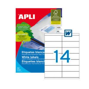 APLI - Caja Etiquetas - 100 Hojas - 105,0X 40,0