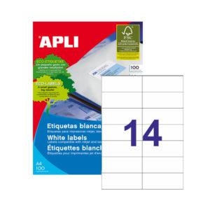 APLI - Caja Etiquetas - 100 Hojas - 105,0X 42,4