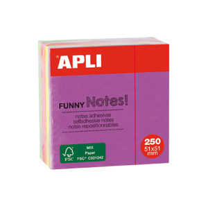 APLI - NOTAS ADHESIVAS FUNNY - 51x51 mm - Mini cubo - 250 hojas