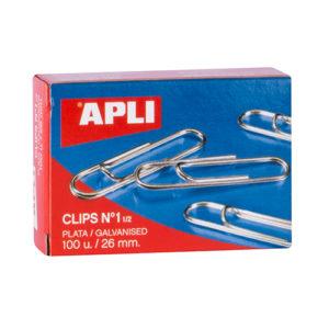 APLI - CLIPS GALVANIZADOS / PLATEADOS - N 1 - (26 mm) - Caja 100 unidades