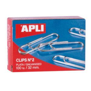 APLI - CLIPS GALVANIZADOS / PLATEADOS - N 2 - (32 mm) - Caja 100 unidades