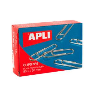 APLI - CLIPS GALVANIZADOS / PLATEADOS - N 4 - (50 mm) - Caja 80 unidades