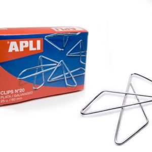 APLI - CAJA CLIPS MARIPOSA PLATEADO - N 10 - (40 mm) - Caja 50 unidades