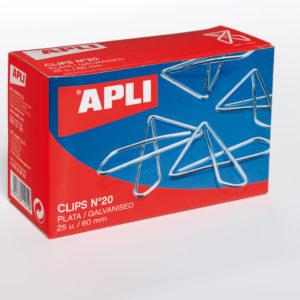 APLI - CAJA CLIPS MARIPOSA PLATEADO - N 20 - (60 mm) -  Caja 25 unidades