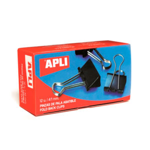 APLI - PINZAS PALA ABATIBLE - 2 x 41 mm - (170 hojas)  - Caja 12 unidades