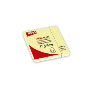 APLI - NOTAS ADHESIVAS CLASSIC - 75x75 mm - 1 bloc - 100 hojas ZIGZAG