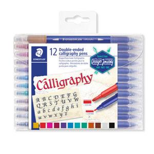 STAEDTLER - Rotuladores doble punta caligrafía - 12 colores - 3005