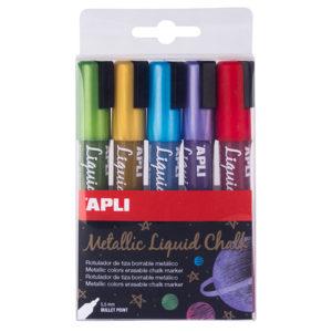 APLI - Tiza Líquida - Liquid Chalk - colores metalizados - Pack 5 colores