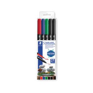 STAEDTLER - Rotuladores de doble punta  permanente - 4 colores - 3187