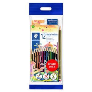 STAEDTLER Lapices de 12 colores + Regalo (lápiz nº2 y goma)