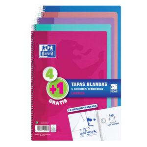 OXFORD: Cuadernos 4+1 tapa blanda - Colores tendencias