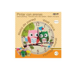 ARENART - Pintura con arena - Kit reloj Buhos - 30 cm