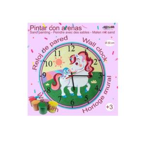 ARENART - Pintura con arena - Kit de reloj Unicornio - 30 cm