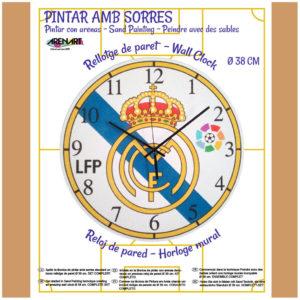 ARENART - Pintura con arena - Kit reloj Real Madrid 38 cm.