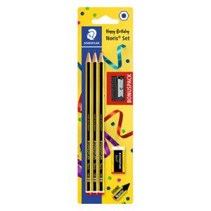 STAEDTLER - Blíster 3 lápices - 2 (HB) Noris® incluye borrador + Afilador de REGALO - ANIVERSARIO